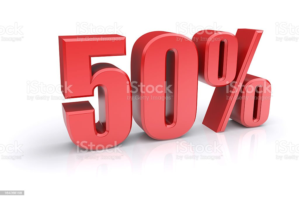 Fifty percent sign royalty-free stock photo