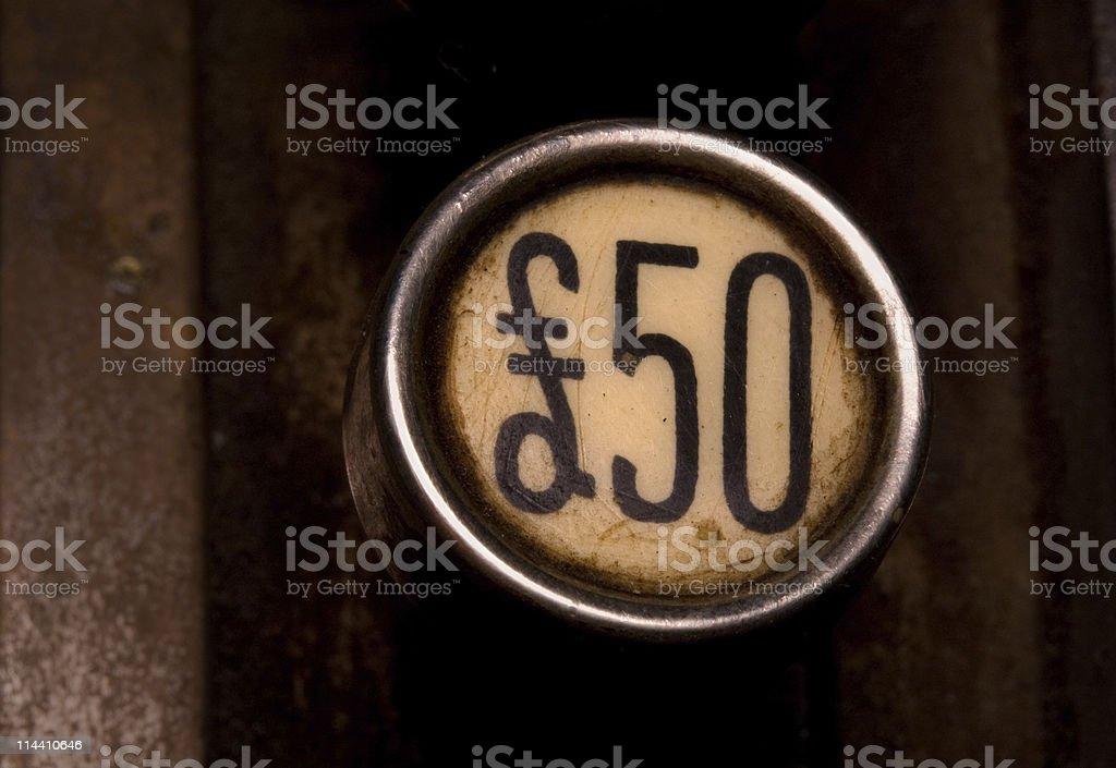 fifty pound button royalty-free stock photo