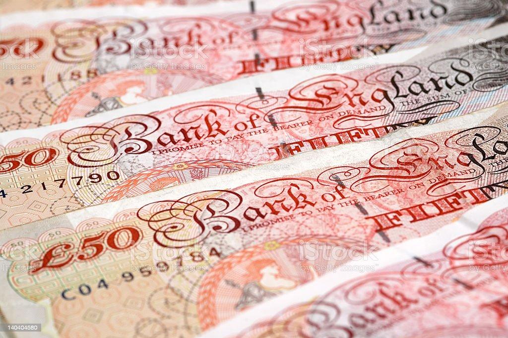 fifty pound notes stock photo