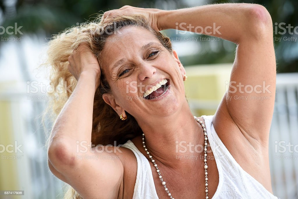 Fifty something woman stock photo