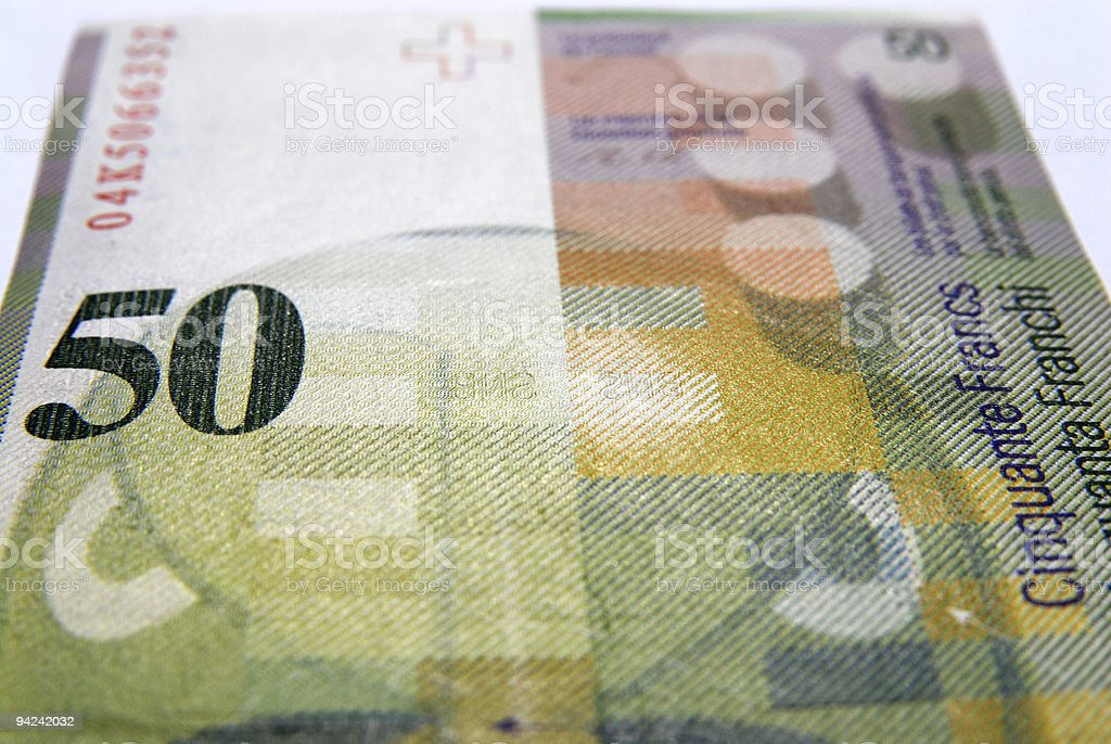 Fifty swiss francs currency stock photo