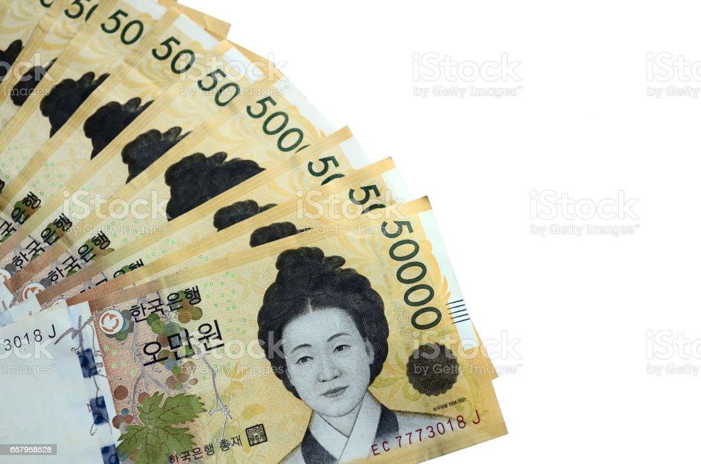 Fifty Thousand South Korean Won on white background stock photo