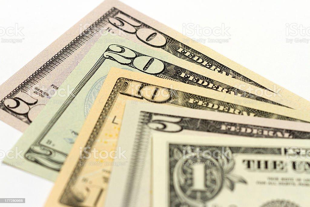 US Fifty Twenty Ten Five And One Dollar Bills royalty-free stock photo