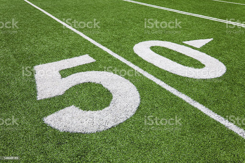 fifty yard line - football field royalty-free stock photo