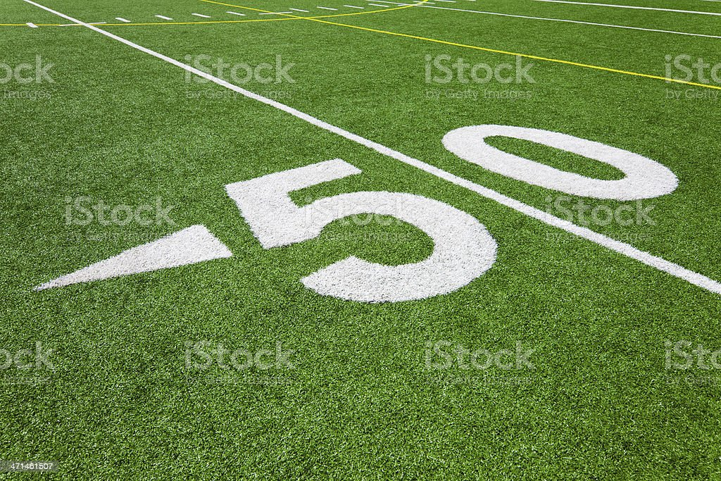 fifty yard line - football royalty-free stock photo