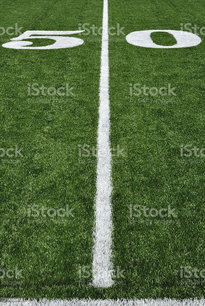 Fifty Yard Line on American Football Field stock photo