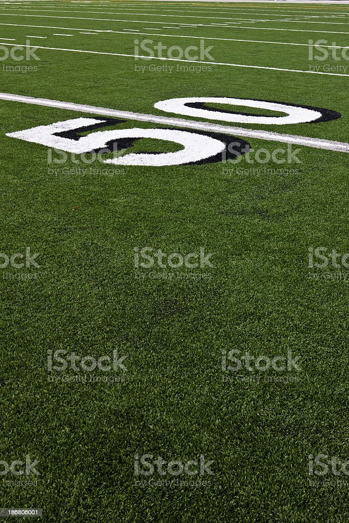Fifty Yard Line on Football Field stock photo