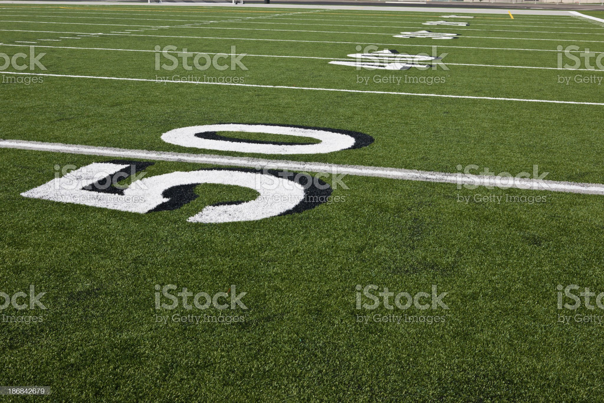 Fifty Yard Line on Football Field royalty-free stock photo