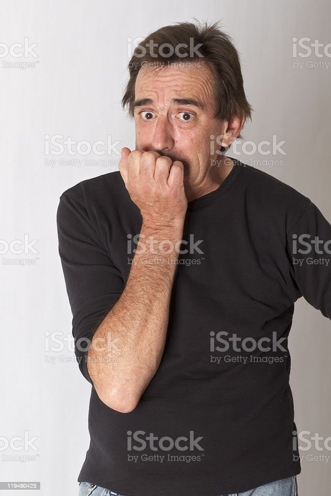 Fifty+ Year Old Man with a Mock Expression of Fear royalty-free stock photo