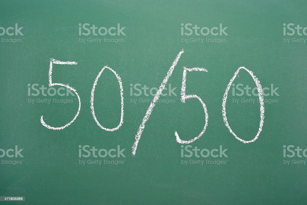 Fifty-fifty royalty-free stock photo
