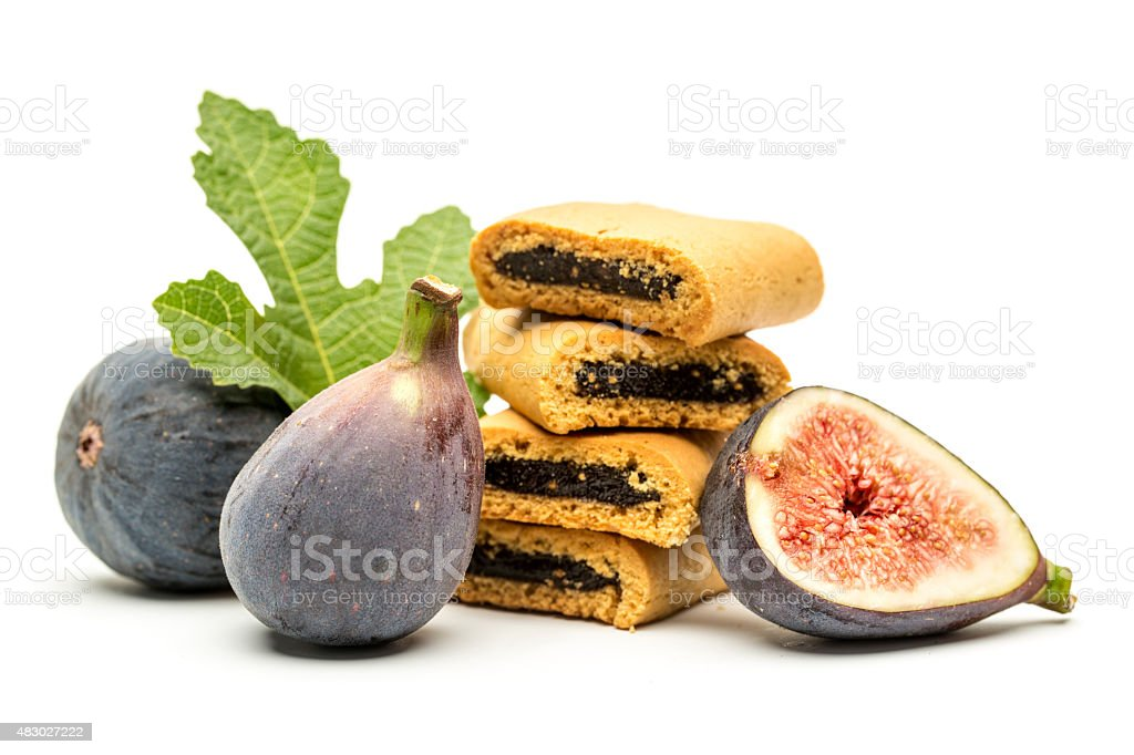 Fig bites and Figs on white background stock photo