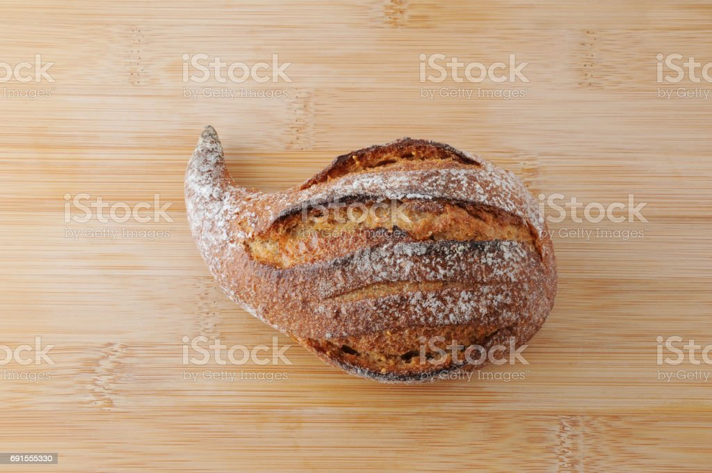fig bread french roll on table cutting board stock photo