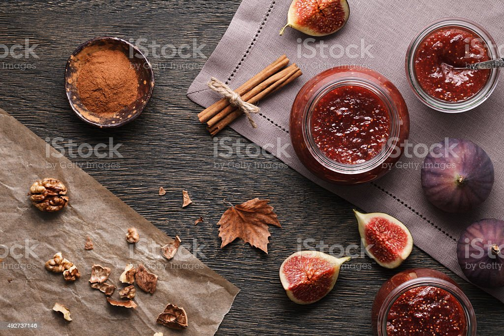 Fig jam and ingredients stock photo