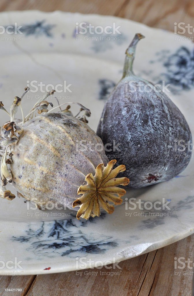 fig on antique plate royalty-free stock photo