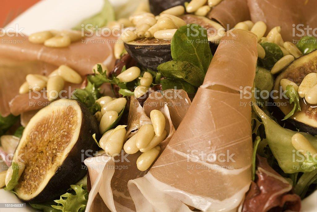 Fig, Prosciutto and Pinenut Salad stock photo