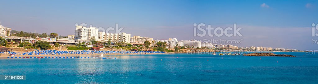 Fig tree bay Cyprus Protaras panoramic view stock photo