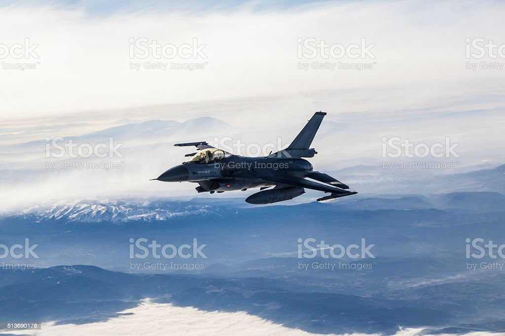 Figher jet in flight stock photo