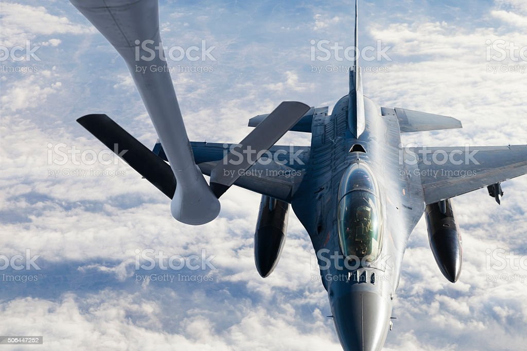 Figher jet Refueling stock photo