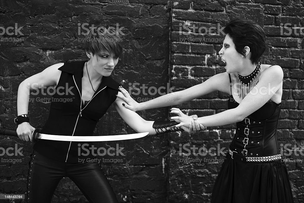 fight against vampire royalty-free stock photo