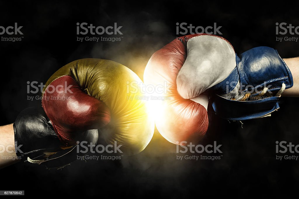 Fight between Netherlands and Germany stock photo