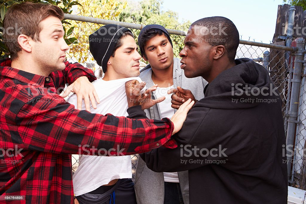 Fight Breaking Out Amongst Gang Members stock photo
