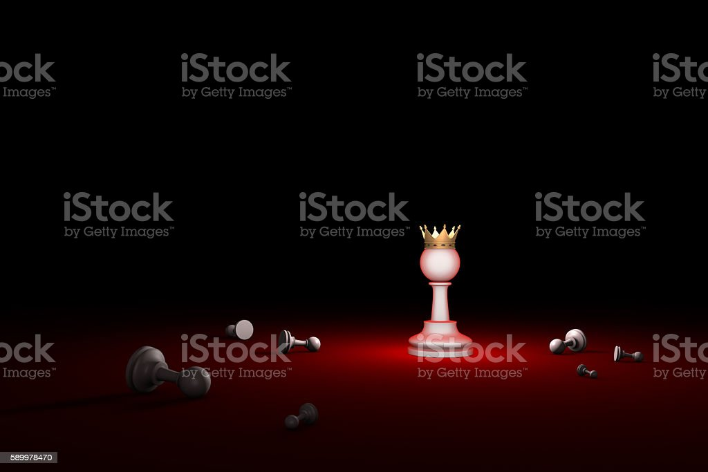 Fight for survival. The last Hero (chess metaphor) stock photo
