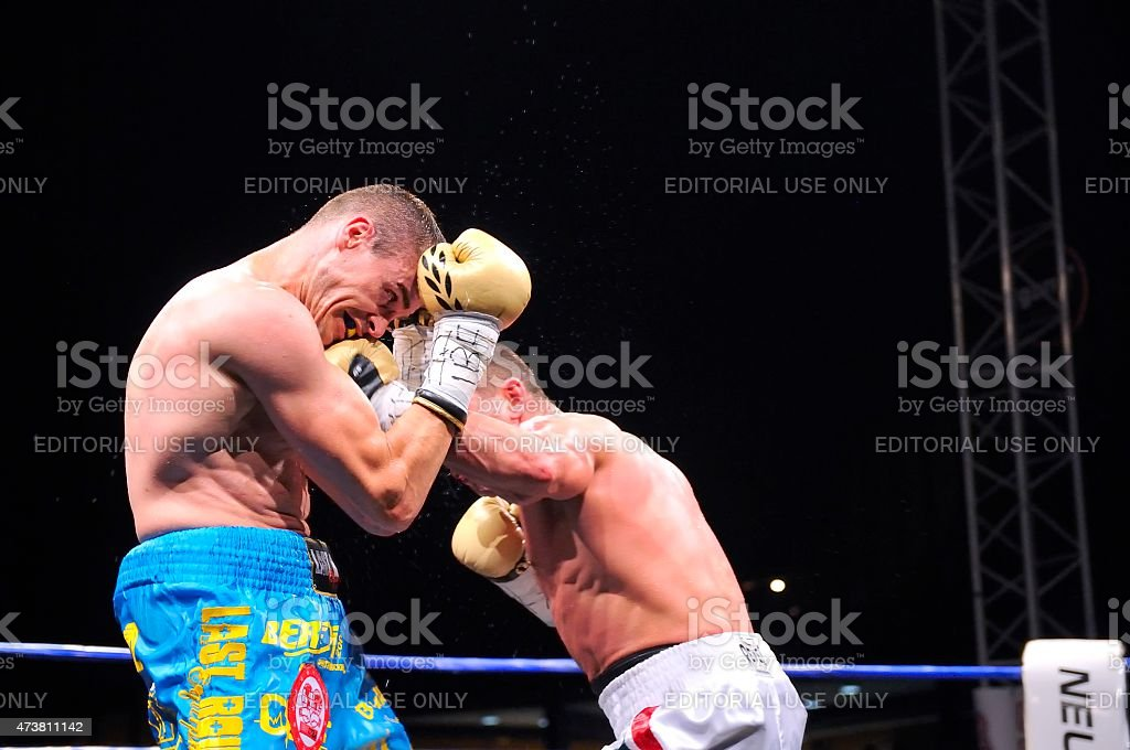Fight for the European IBF championship stock photo