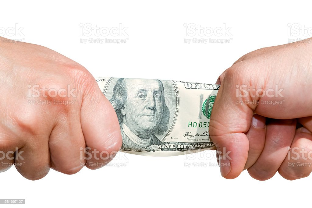 Fight over money B stock photo