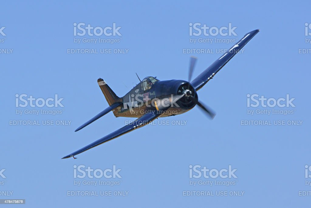 WWII fighter airplane flying at Air Show stock photo