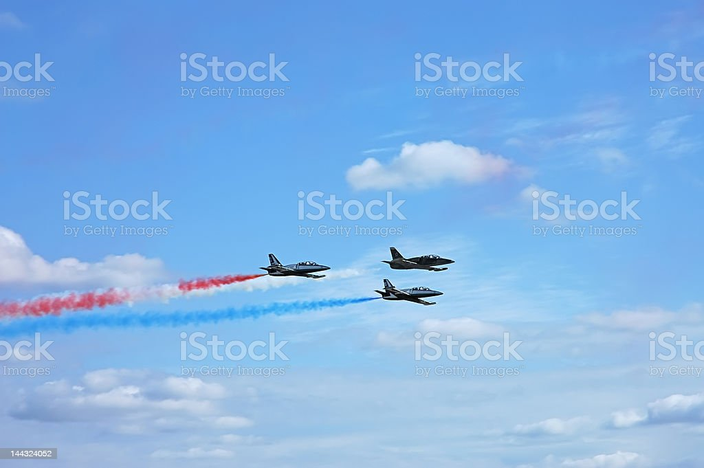 Fighter airplane squadron stock photo