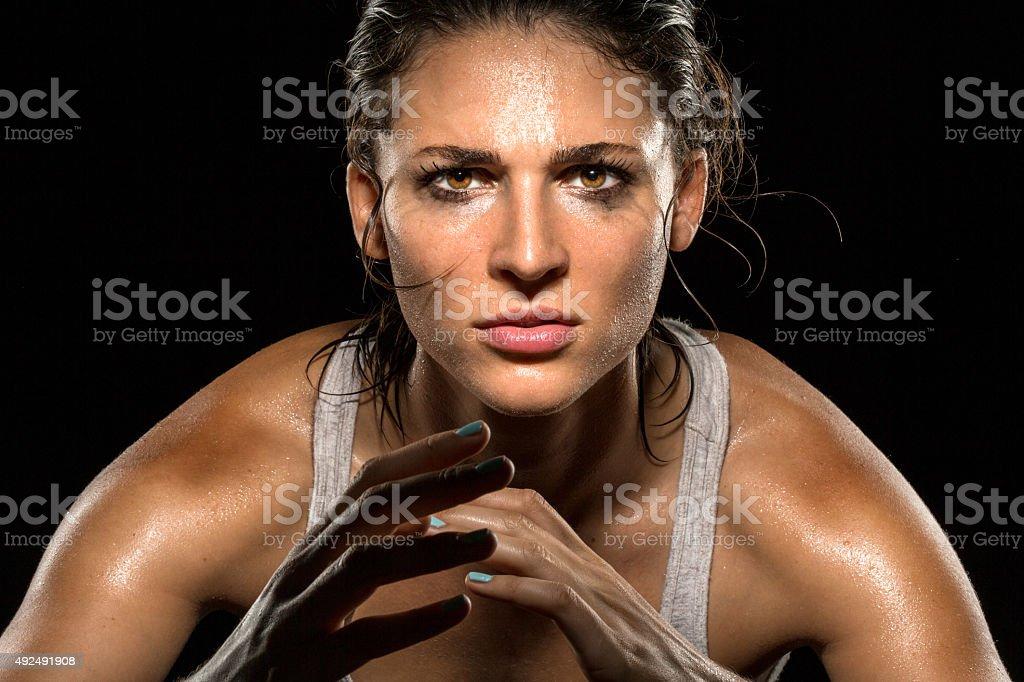 MMA fighter boxer athlete intense focus eyes wrestler strong confident stock photo