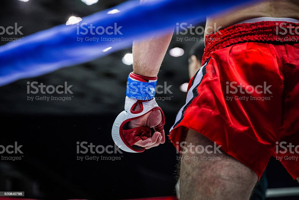 fighter in corner of  ring stock photo
