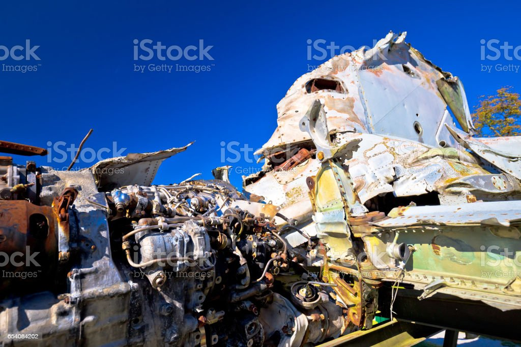 Fighter jet airplane wreck view, with blue sky background stock photo