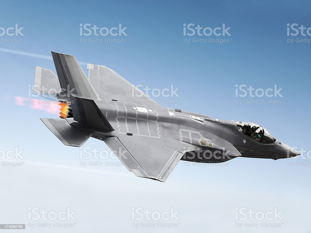 F35 Fighter jet at supersonic speeds stock photo