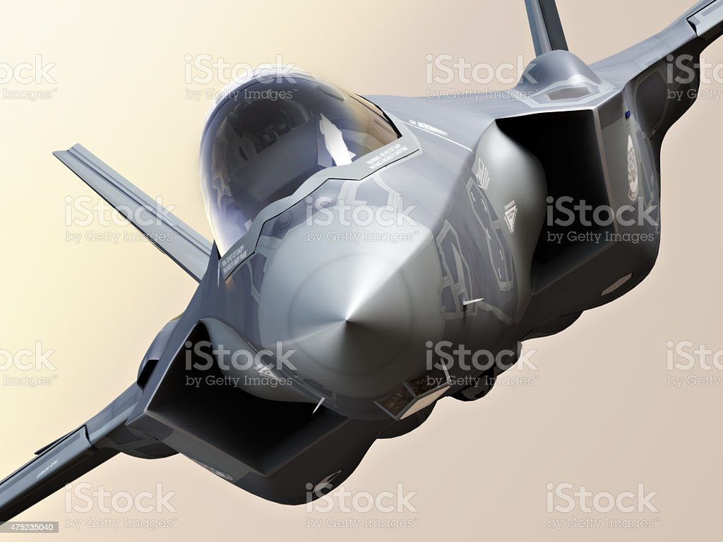 F35 Fighter jet close up stock photo