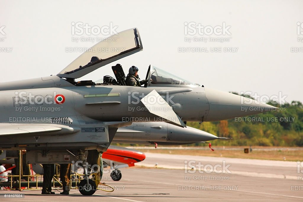 Fighter jet F 16 preparing to take off stock photo