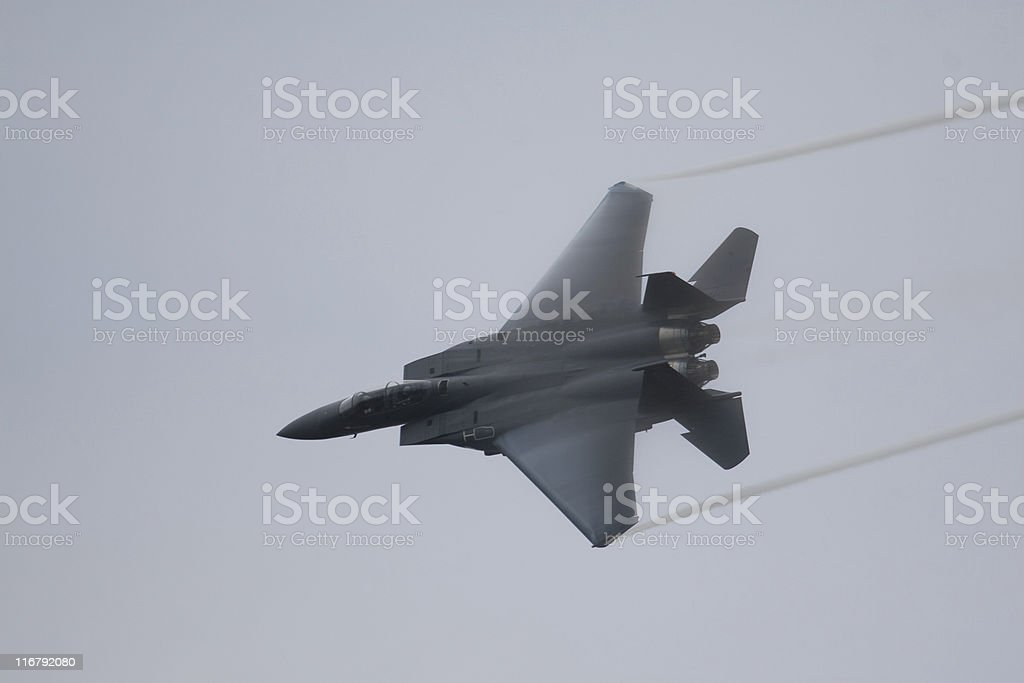 Fighter Jet in High Speed Turn stock photo