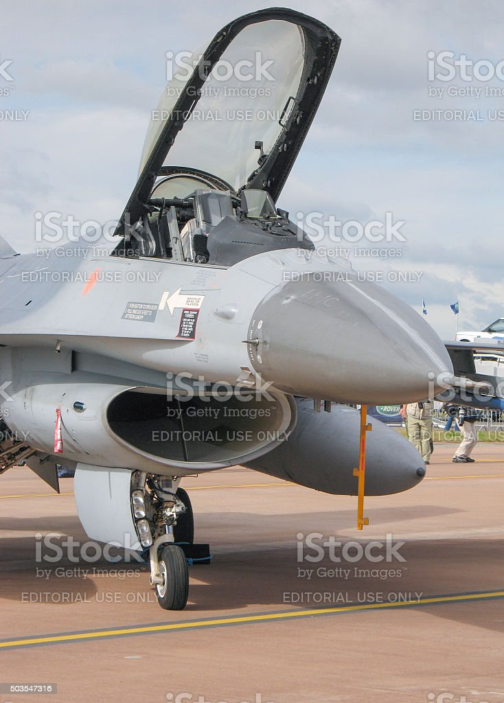 F-16 Fighter Jet on the ramp with canopy open stock photo