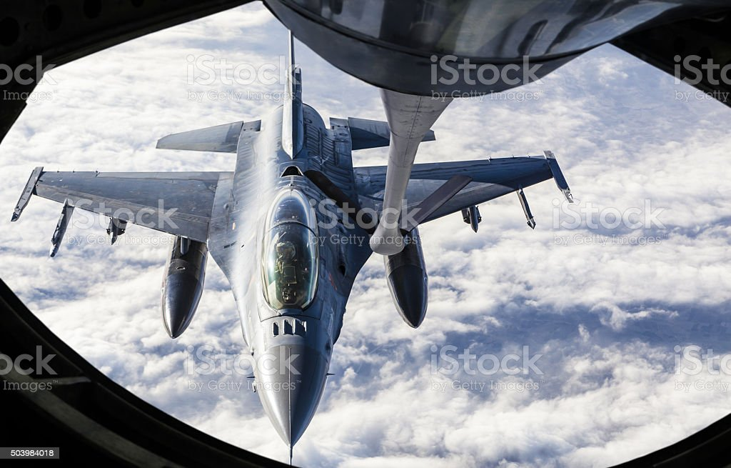 Fighter Jet Refueling stock photo