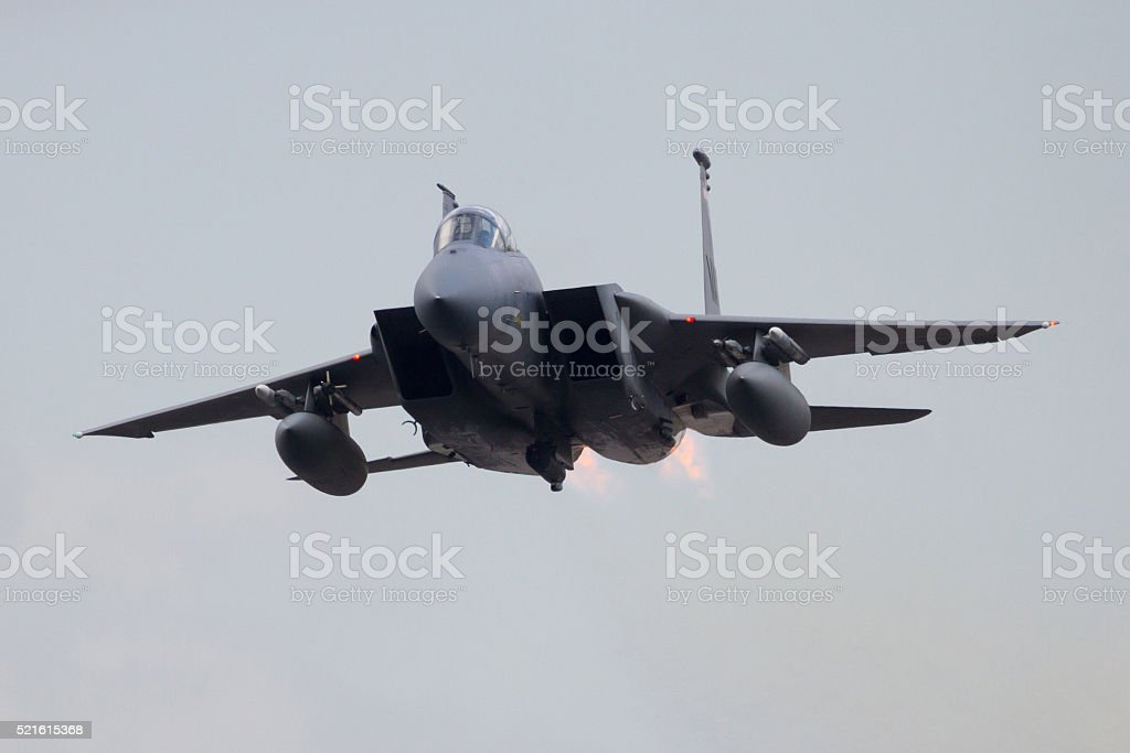 Fighter jet take off stock photo