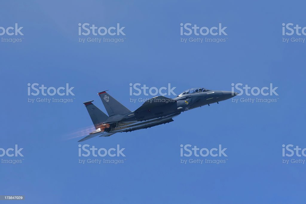 F-15 fighter jet with afterburners stock photo