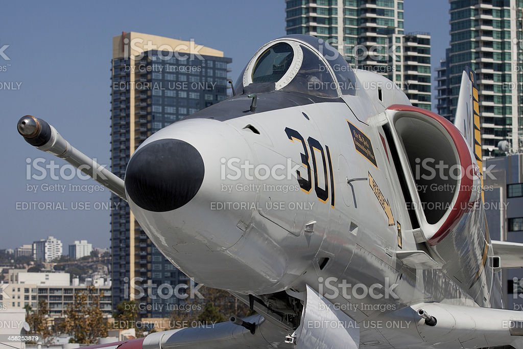 Fighter Jet With Downtown San Diego Behind royalty-free stock photo