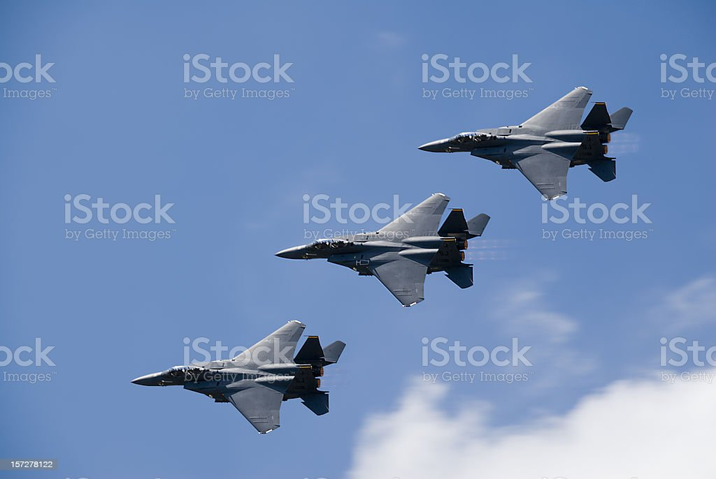 F15 Fighter Jets Flying royalty-free stock photo