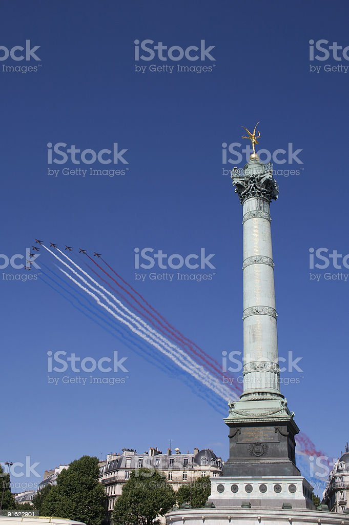 Fighter Jets formation flying over on 14 July (Bastille Day) stock photo