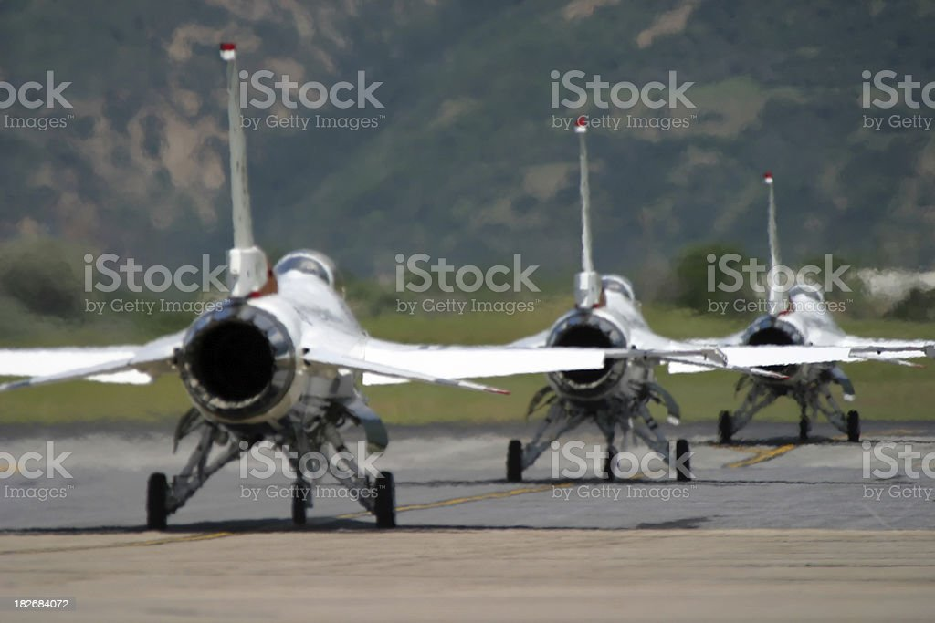 Fighter Jets on Runway royalty-free stock photo