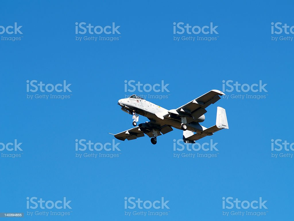 A-10 Fighter Landing stock photo