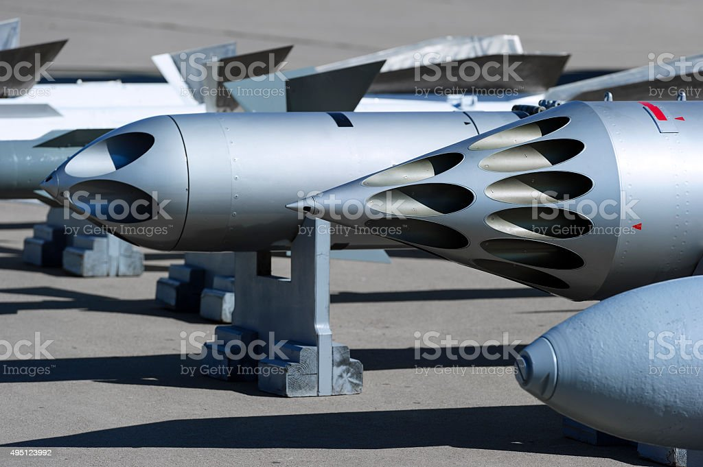 Fighter missiles and bombs stock photo