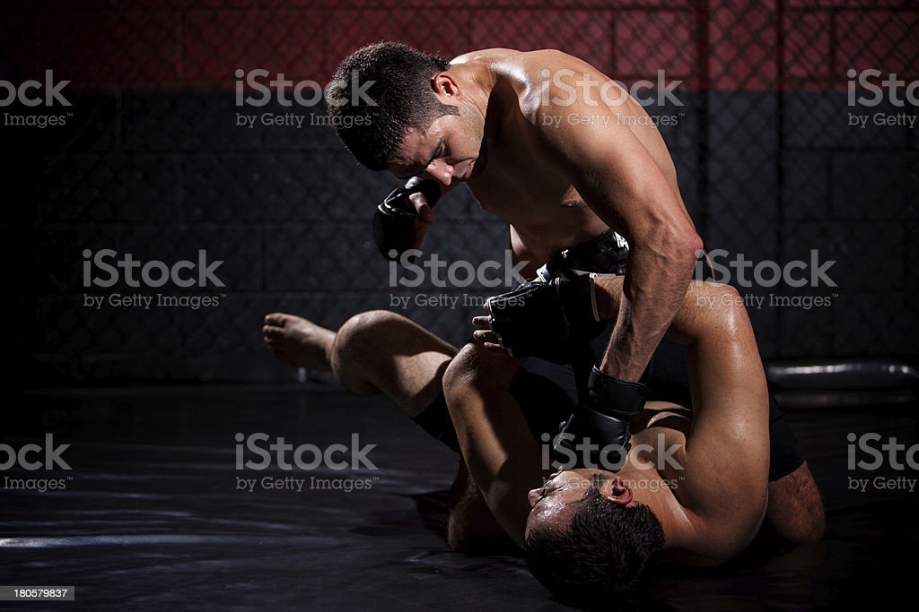 MMA fighter mounting and punching opponent stock photo