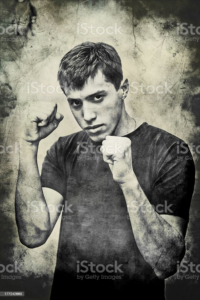 fighter on fists stock photo
