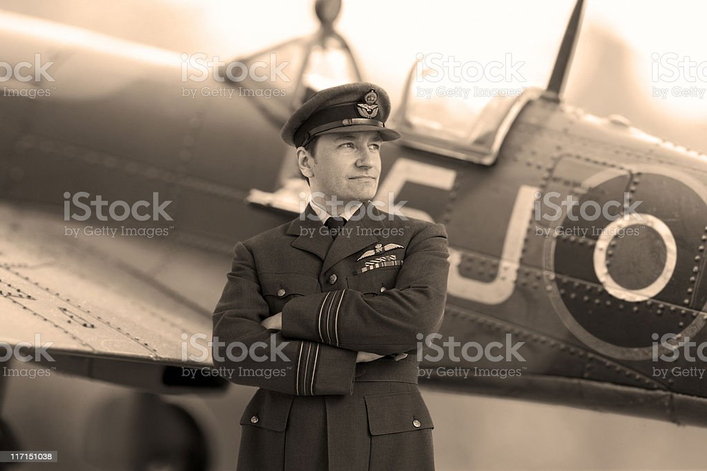 WWII Fighter Pilot royalty-free stock photo